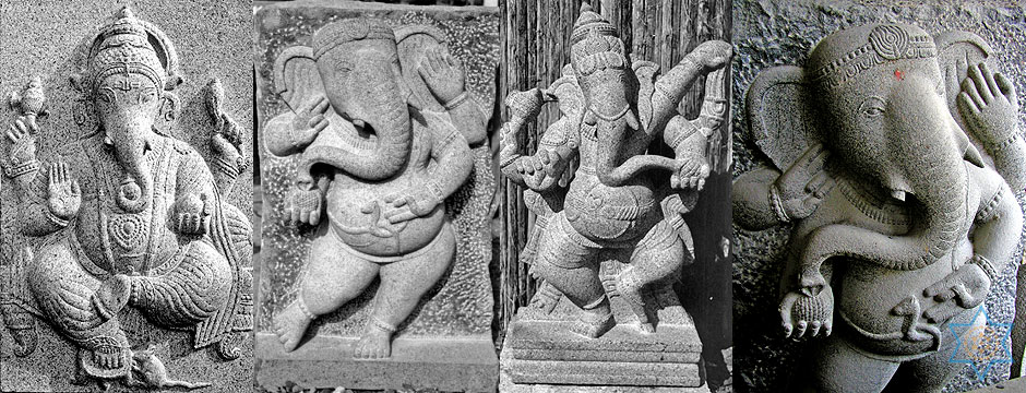 Auryaj granite stone carvings and sculptures of Ganesha signify knowledge and wisdom